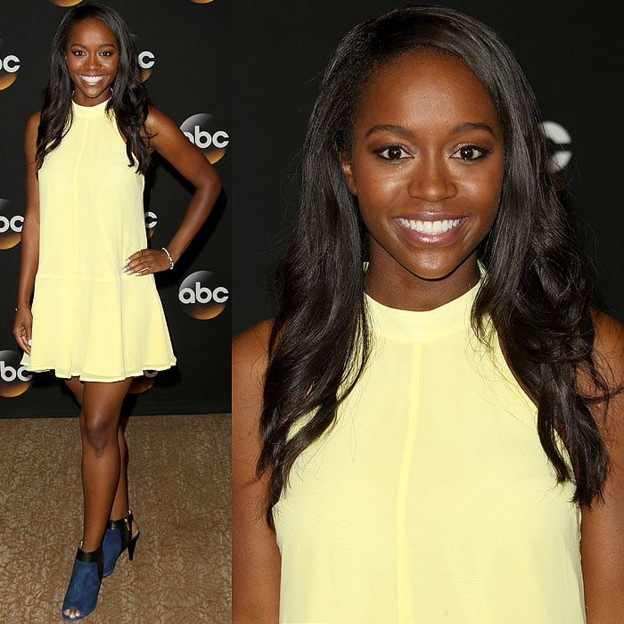 Young newcomer Aja Naomi King was the event's bright spot in a cheery yellow dress and electric blue peep-toe booties