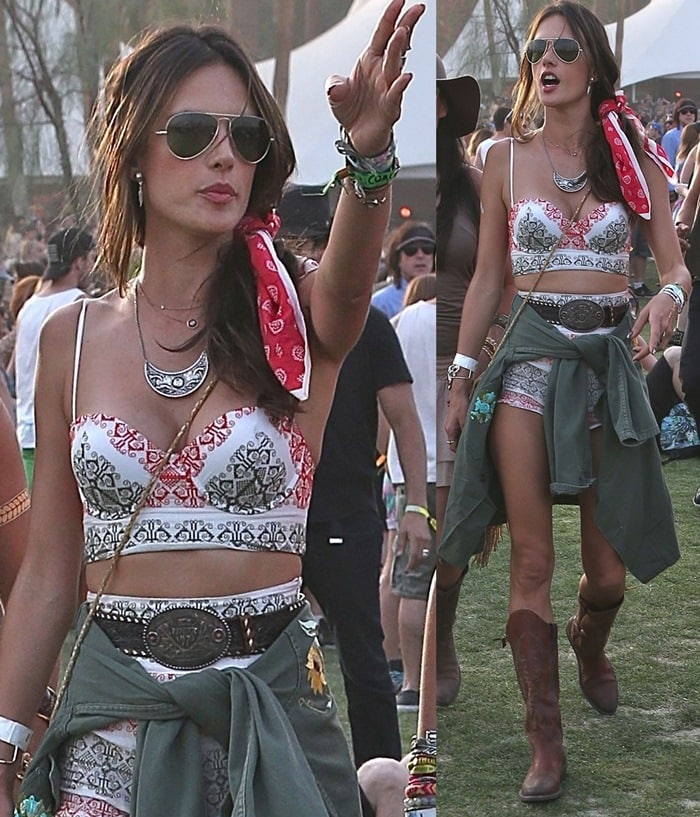 Alessandra Ambrosio at the second day of Coachella in Los Angeles on April 13, 2014