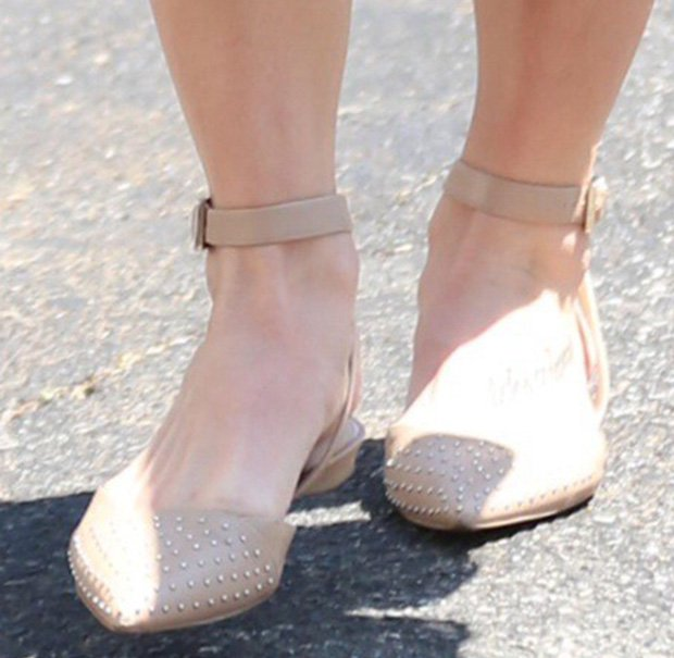 Ashley Greene's feet in studded slingback flats