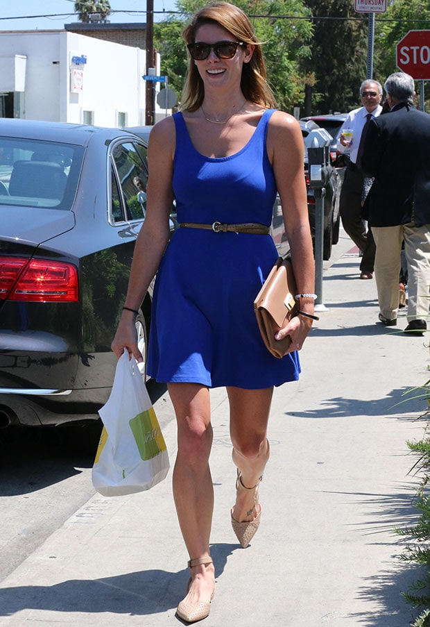 Ashley Greene in a summery blue dress and studded slingback flats