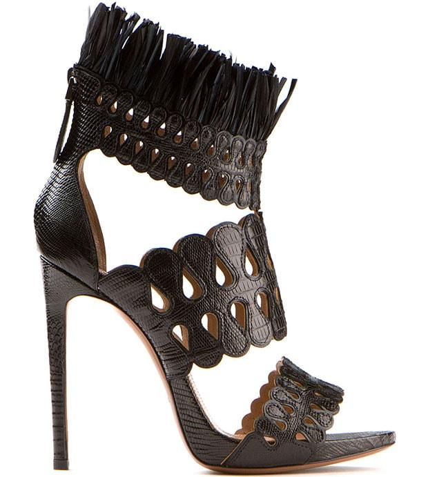 Azzedine Alaia Black Lizard High-Heel Sandals
