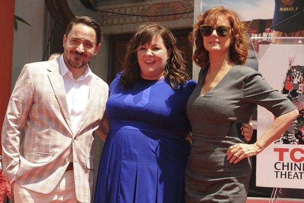 Ben Falcone, Melissa McCarthy, and Susan Sarandon at the ceremony at the TCL Chinese Theatre in Hollywood, Los Angeles, on July 2, 2014