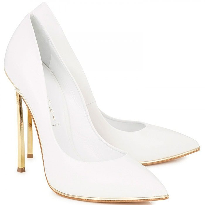 Casadei Gold-Blade-Heel White Pumps