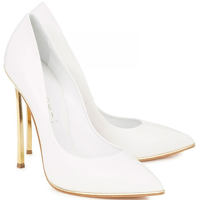Casadei gold blade heel white pumps