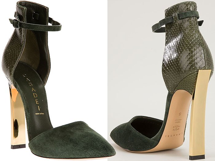 Casadei Gold-Heel Ankle-Strap Pumps
