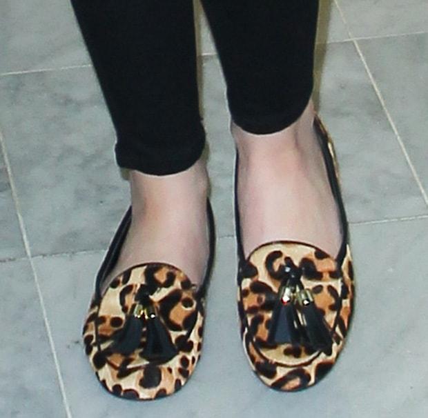 Cher Lloyd wearing trendy leopard-print flats