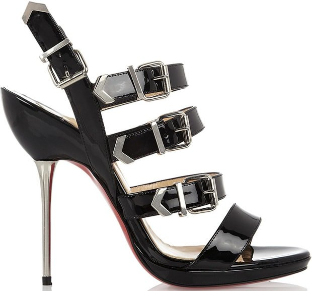"""Funky"" Multi-Buckle Patent Red Sole Sandals"