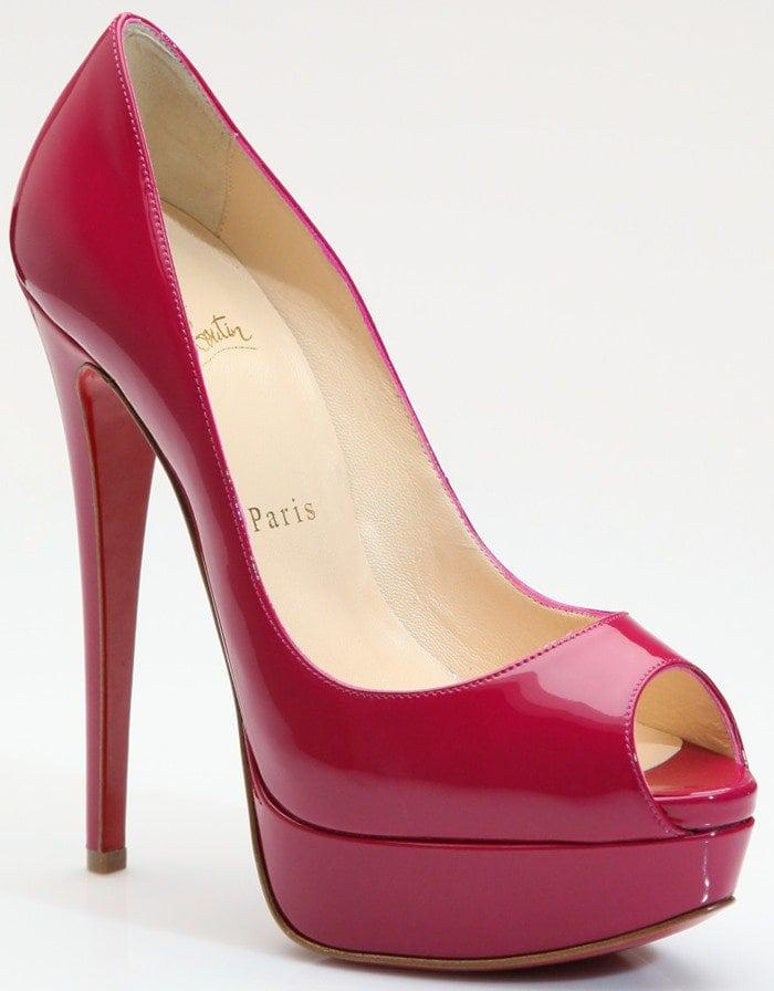 Christian Louboutin Women's Red Lady Peep Patent Leather Platform Pumps