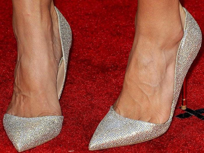 Danica Patrick wearing glittery Kurt Geiger d'Orsay pumps