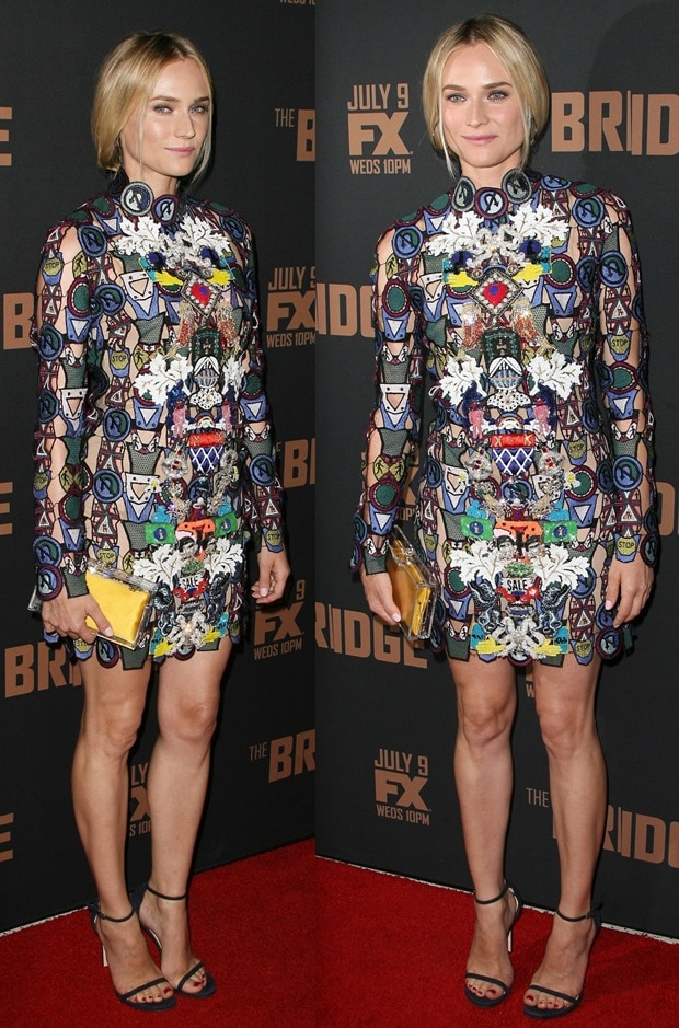 Diane Kruger inan embroidered lace Dixiecult dress from the Mary Katrantzou Fall 2014 collection