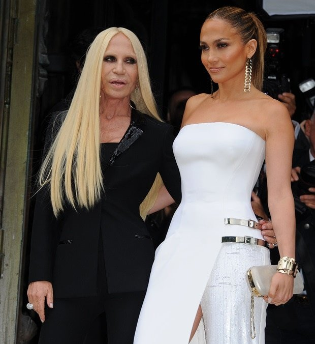 Donatella Versace and Jennifer Lopez at Paris Fashion Week Haute Couture Fall-Winter 2014/2015 (Atelier Versace Fashion Show) in Paris, France, on July 6, 2014