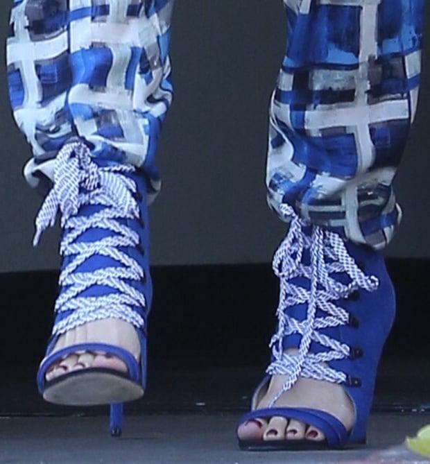 Gwen Stefani wearing GX by Gwen Stefani sandal booties