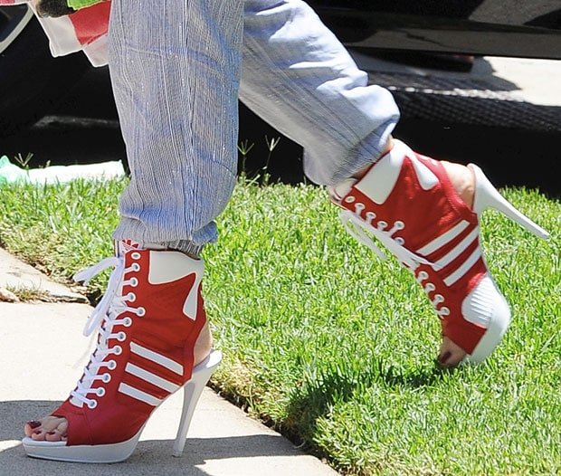 b15f0a3562d1 Gwen Stefani s Red   White Jeremy Scott for adidas High-Heel Sneakers