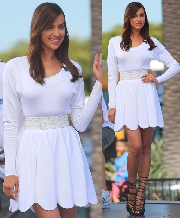Irina Shayk flaunts her toned legs while appearing on Extra in Los Angeles on July 22, 2014