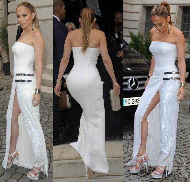 Jennifer Lopez Stuns In Thigh High Split Atelier Versace Dress