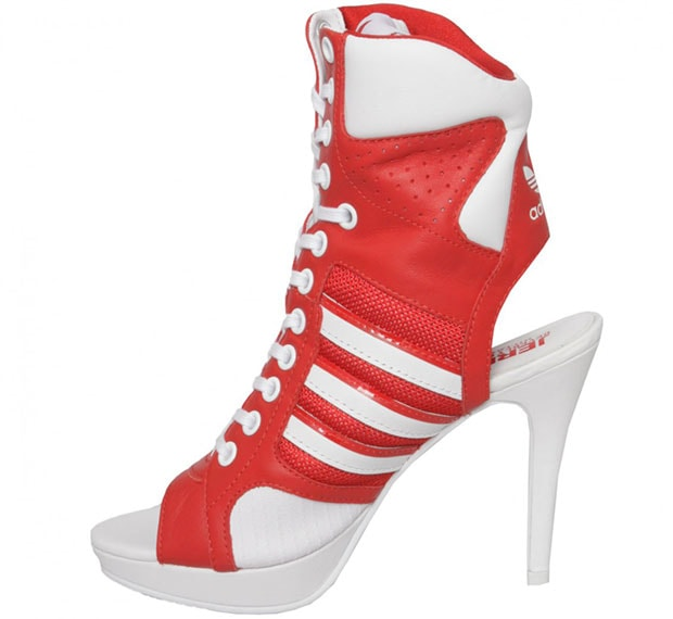 7945afe94736 Gwen Stefani s Red   White Jeremy Scott for adidas High-Heel Sneakers