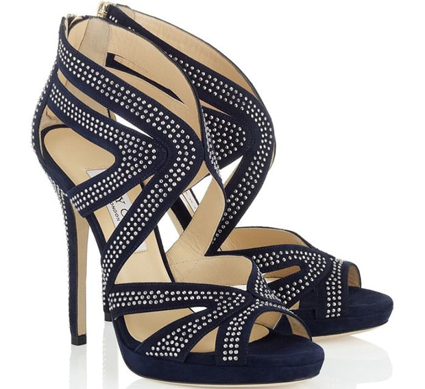 "Jimmy Choo ""Collar"" Sandals in Navy/Silver"