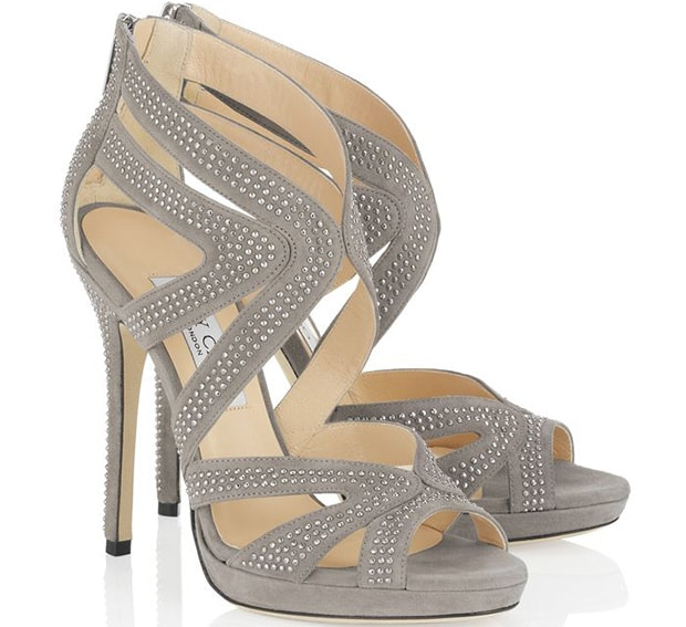 "Jimmy Choo ""Collar"" Sandals in Pebble/Silver"