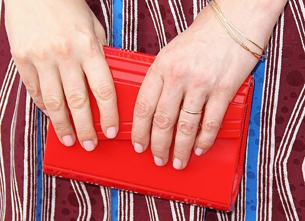Judy Greer carrying a Jimmy Choo Candy clutch
