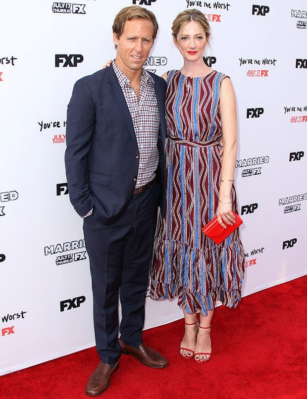 Nat Faxon and Judy Greer at the premiere screening of FX's 'You're the Worst' and 'Married'