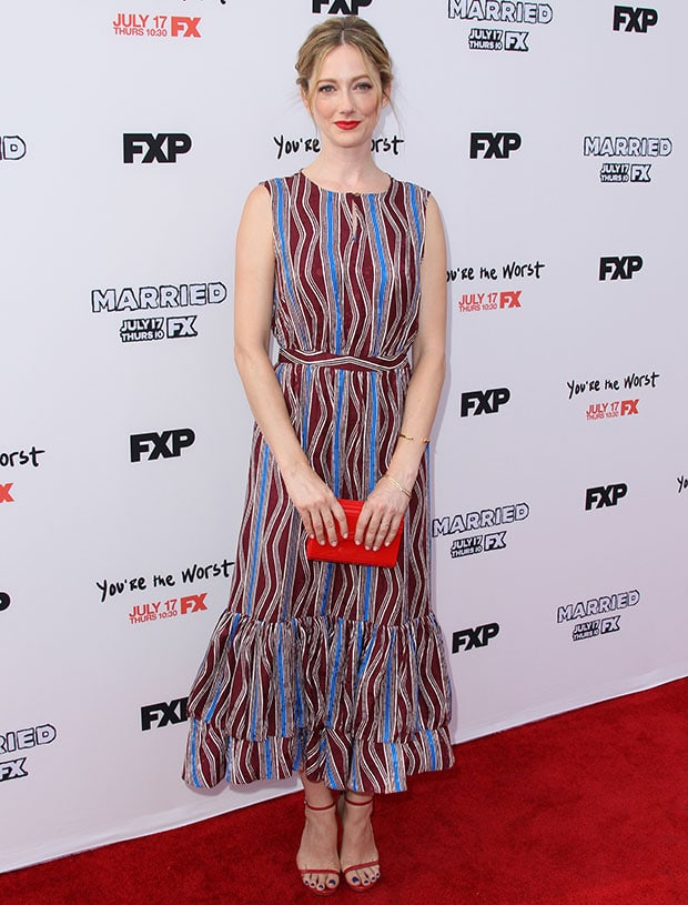 Judy Greer donned a Suno multicolored maxi dress
