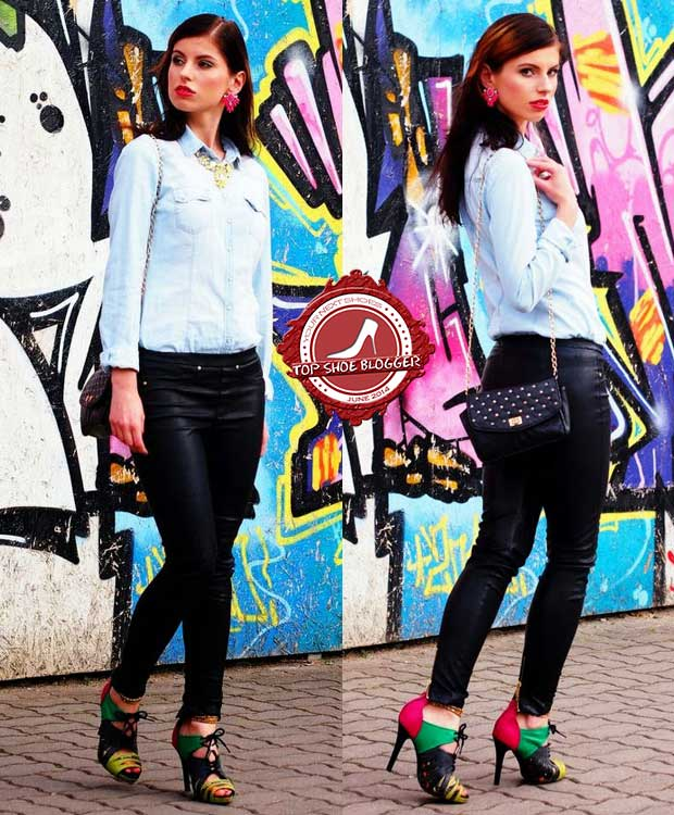 Karina shows how to wear a denim shirt with colorful shoes in summer