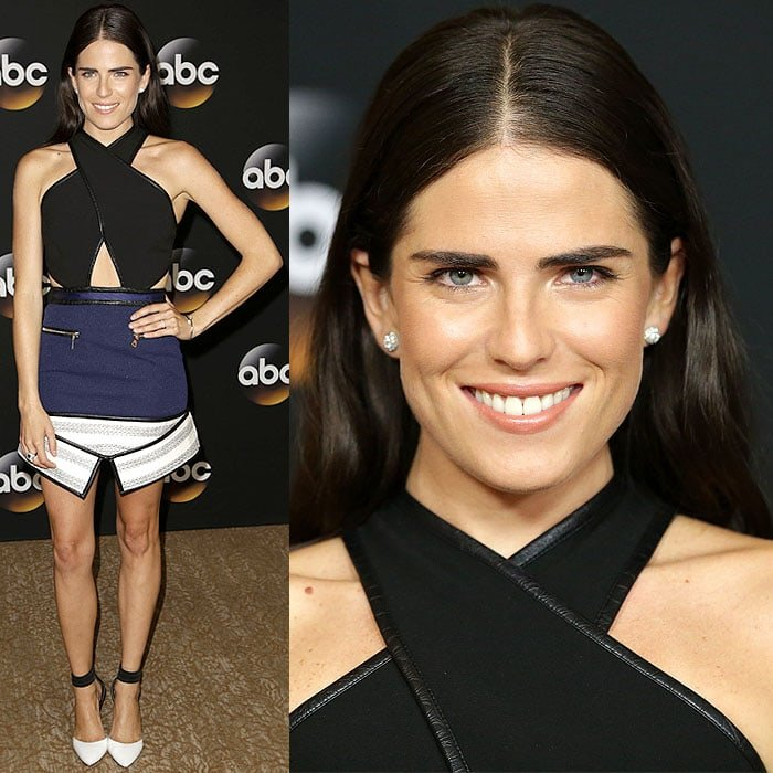 "Although it's Karla Souza's Three Floor ""Attract"" dress that's really making a statement, we got to give credit to her Via Spiga ""Ife"" pumps for doing a fine job in complementing and not overpowering her look"