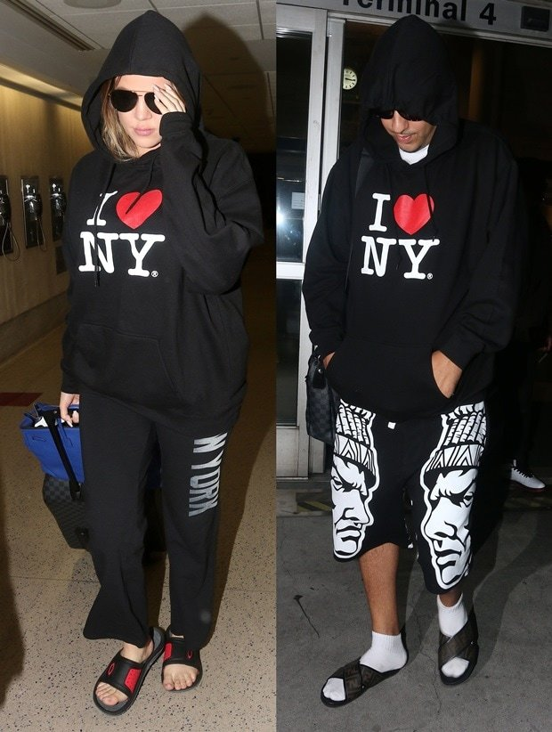 Khole Kardashian and French Montana arriving into Los Angeles International Airport (LAX)