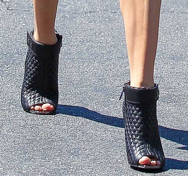 Kristin Cavallari's boots feature quilted leather uppers and ribbed heel cups
