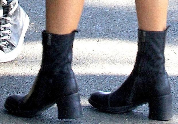 Kylie Jenner wearing Ann Demeulemeester boots