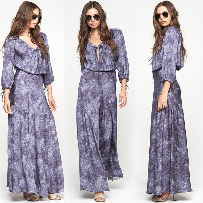 L'Agence Drawcord Dress in Indigo Denim Print