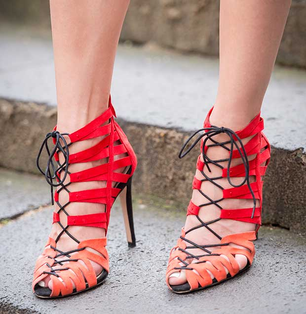 Lisa's red-and-orange lace-up heels