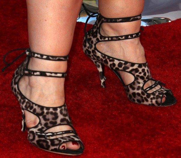 Melissa Mccarthy In Bailey Double Wrap Sandals In Leopard