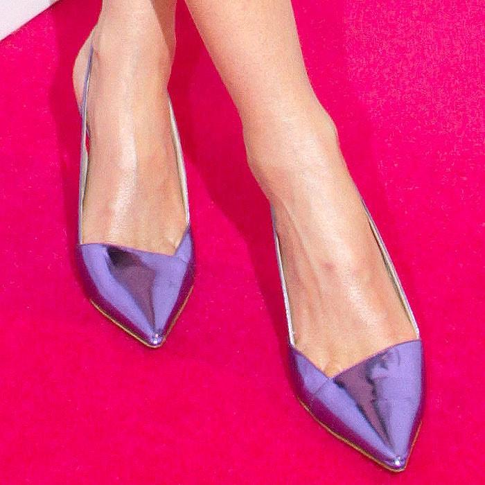 Metallic purple Christian Dior slingback pumps on Miranda Kerr