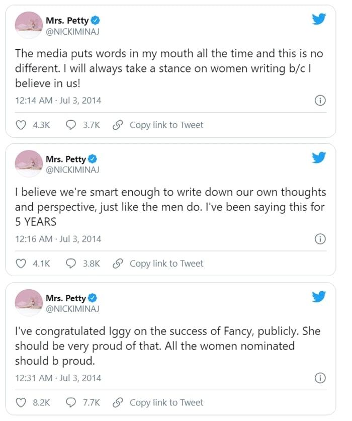Nicki Minaj responds to Iggy Azalea rumors on Twitter
