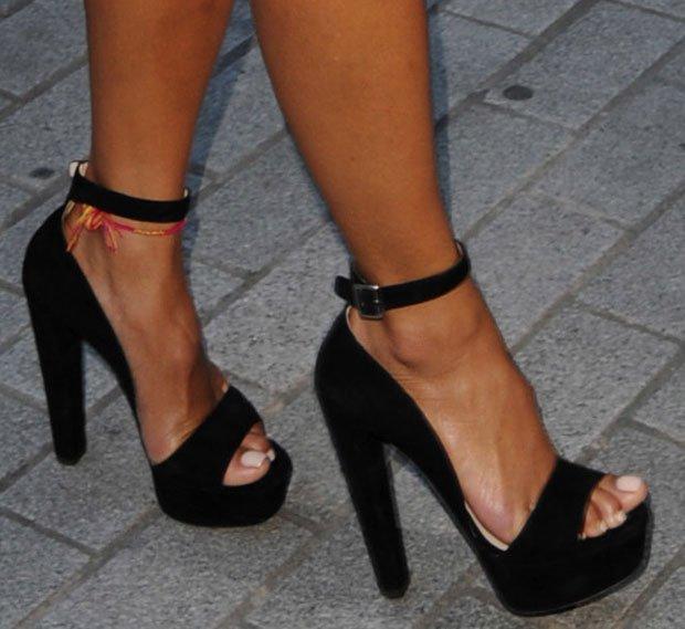 Nicole Scherzinger wearing Prada sandals
