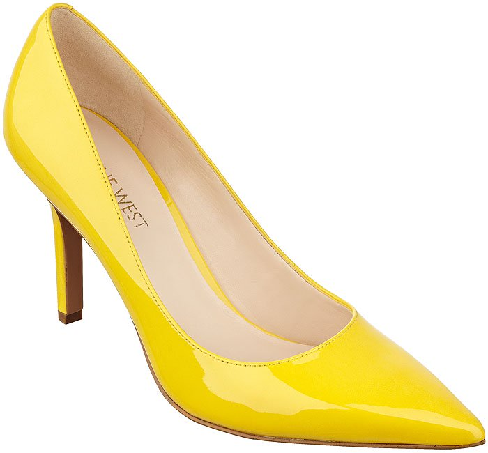 Nine West Martina yellow patent pumps