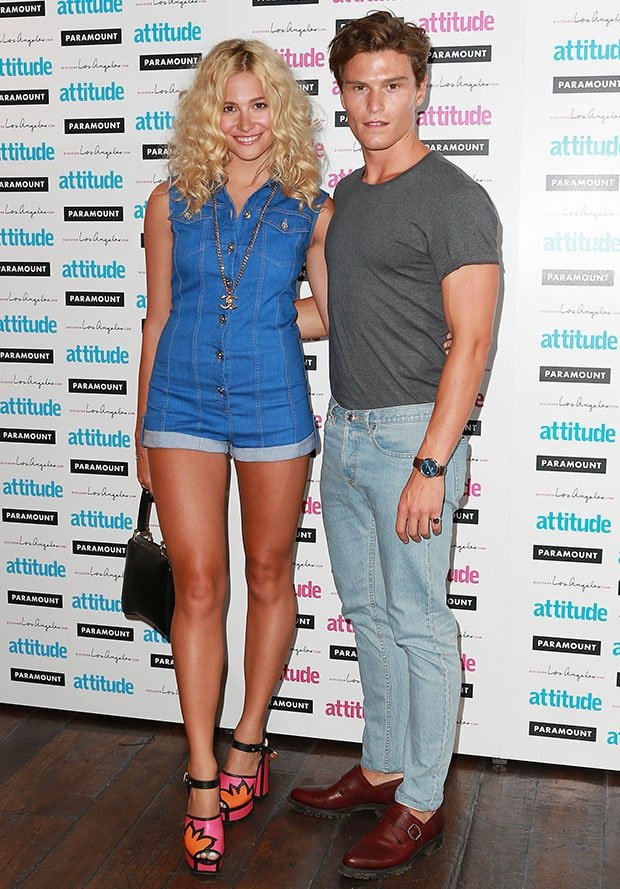 Pixie Lott and Oliver Cheshire at Attitude Magazine's Hot 100 Party at Paramount Club in London, England, on July 16, 2014