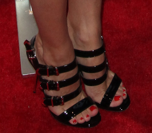 Olivia Palermo's pedicured toes in Christian Louboutin heels