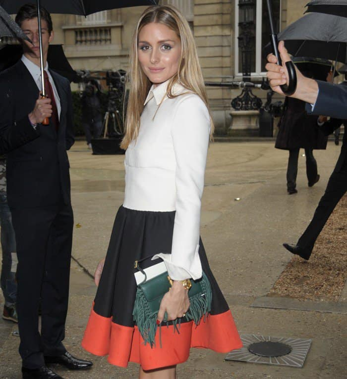 Olivia Palermo in a Valentino colorblock dress paired with Sergio Rossi sandals