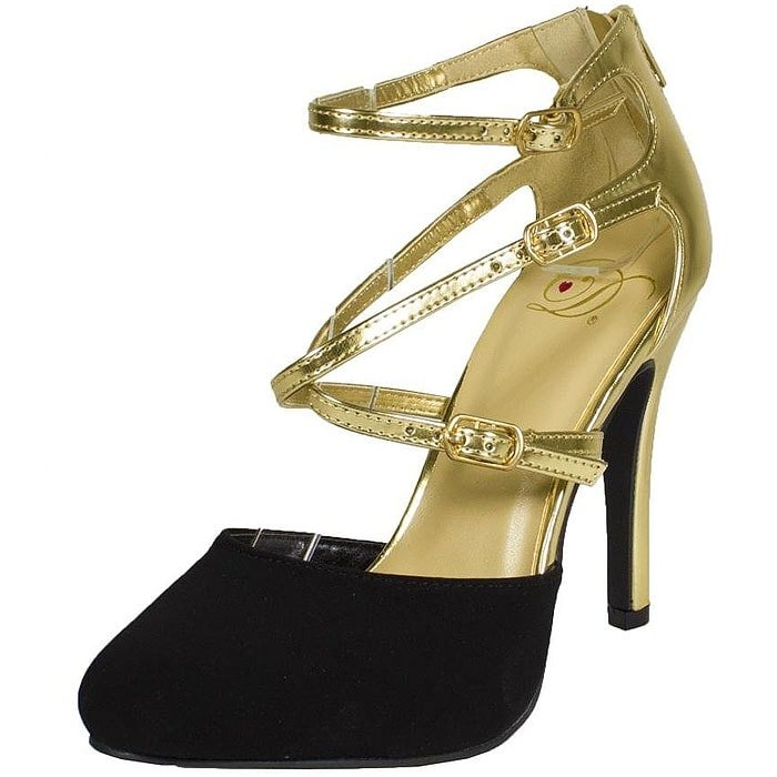 Pandi by Delicious gold and black pumps