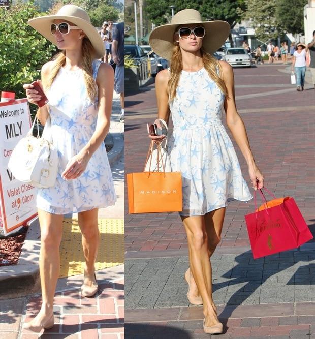 Paris Hilton flaunts her legs in Eddie ballet flats