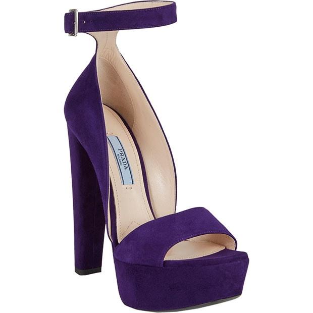 Prada Ankle-Strap Platform Sandals in Purple