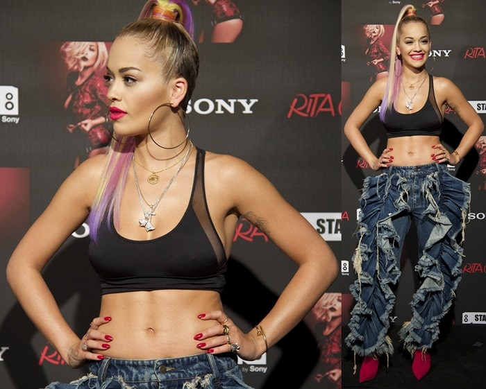 Rita Ora attends a photocall before her concert at the Joy Eslava Club in Madrid on July 3, 2014