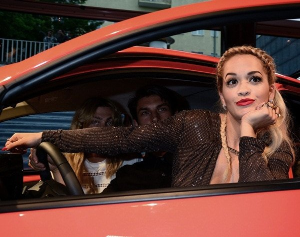 Rita Orapromoting the new Toyota Aygo at the launching event in Berlin