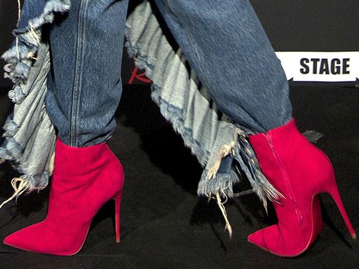 Rita Ora pink suede booties