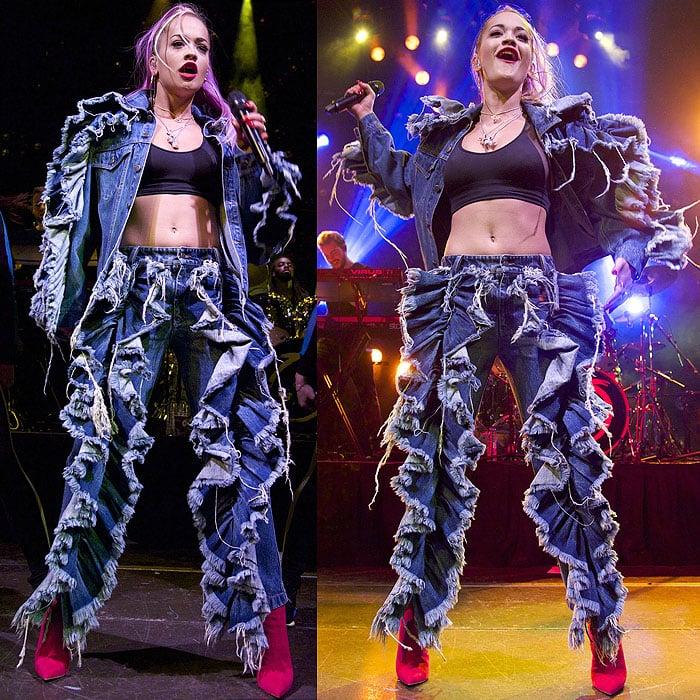 Rita Ora ruffle denim outfit