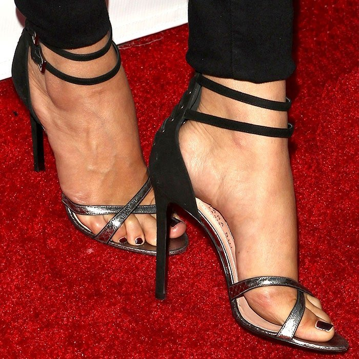 Barbara Bui lace-up-back elaphe-and-suede sandals on Selena Gomez