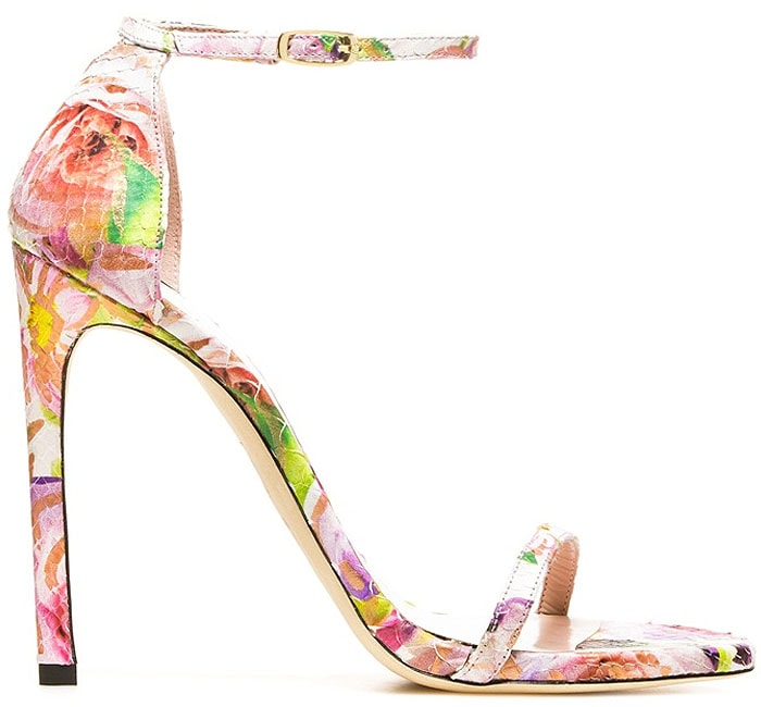 "Stuart Weitzman ""Nudist"" Sandals in Rose Pearl Floral Python"