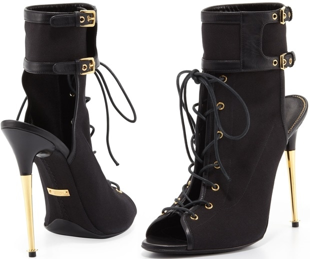 Tom Ford Stretch Canvas Lace-Up Bootie